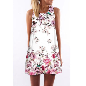 Sleeveless O neck Mini Chiffon Summer Dress.