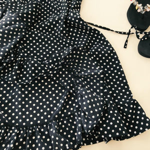 Women's Ruffled V-collar / Sleeveless Sling Dress / Polka Dot Print