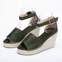 Women Fashion / Dull Polish Sewing Peep Toe Wedges / Hasp Sandals / Platforms