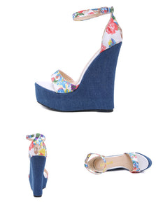 Women Designer Print Denim Sandals / Roman Sandals / High Quality Wedges / High Heels Peep-Toe Platform Shoes
