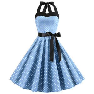Women's Plus Size / Sexy Halter Party Dress / Sleeveless / Retro / Polka Dot / Hepburn Vintage 50's 60's Style