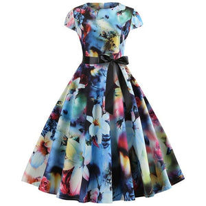Women Vintage 50's, 60's Style Summer, Floral Print, Short Sleeve Dress / Retro Pinup / Plus Size
