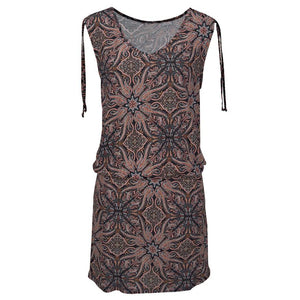 Women's Casual / Sleeveless / Retro Print / V-Neck Dress