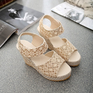 Women's Summer Fashion Lace Hollow Gladiator Wedges