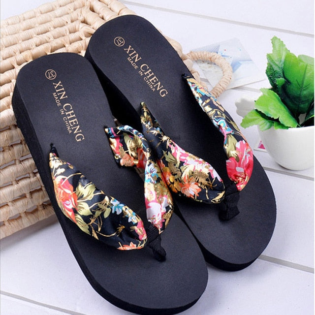 Bohemia Floral Beach Sandals / Wedge Heel /Platform Thongs / Flip Flops