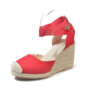 Women's Flax Hemp Canvas / Lace Up Ankle Strap / Wedge Heel Sandals