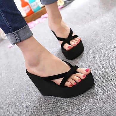 Women Platform Sandals Wedge Heel Summer Shoes Strapped Slippers Beach Flip Flops Solid Slides