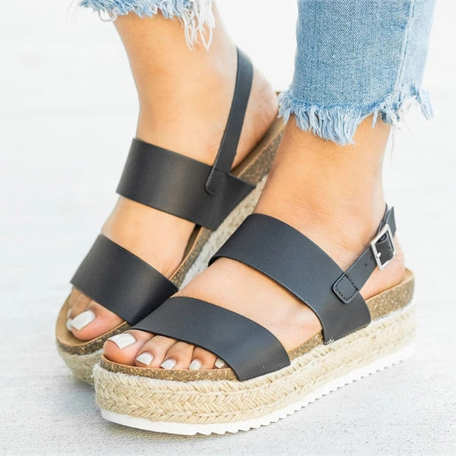 Women's Leather Platform Sandals With Chunky Wedge Heel
