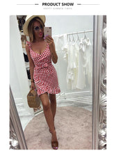 Women's Summer / Sleeveless/  Plaid Dress / Beach Wear/ Streetwear / Ruffles / Spaghetti Strap / V-Neck