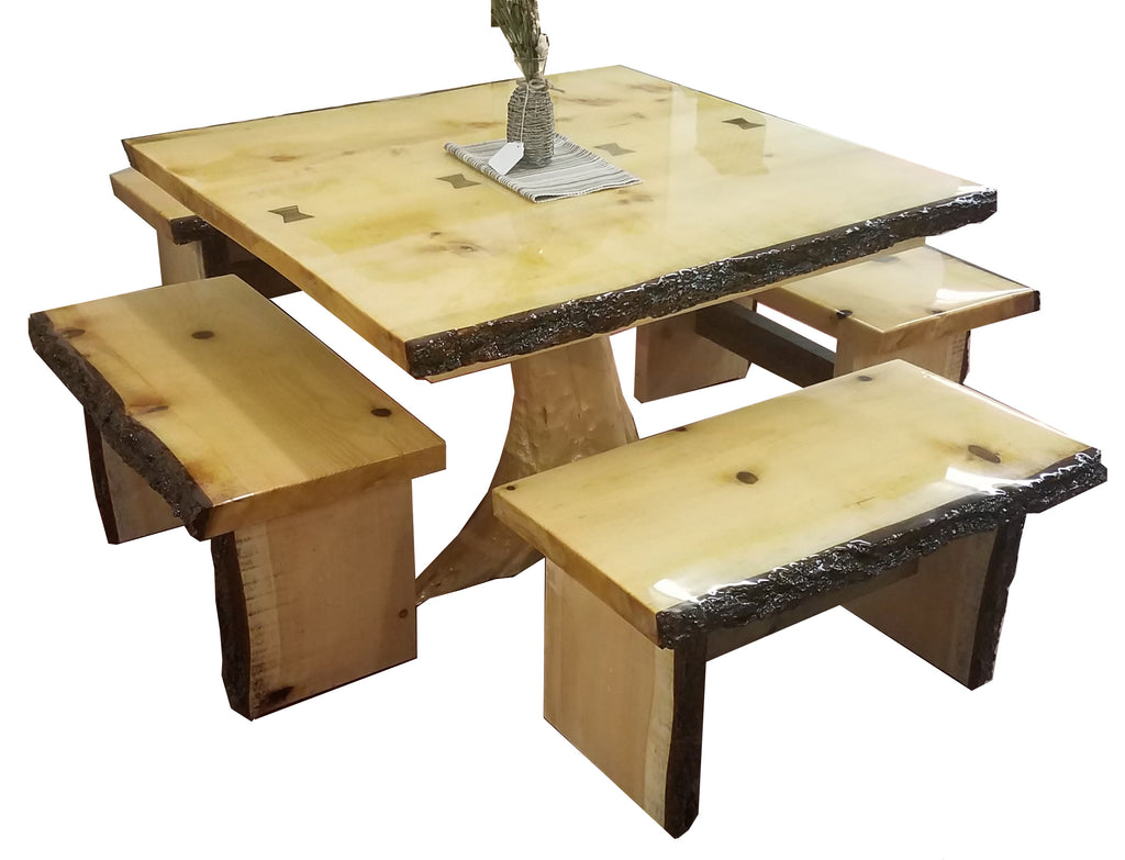 Live Edge Dining Table w/ 4 Benches-AuSable River MFG