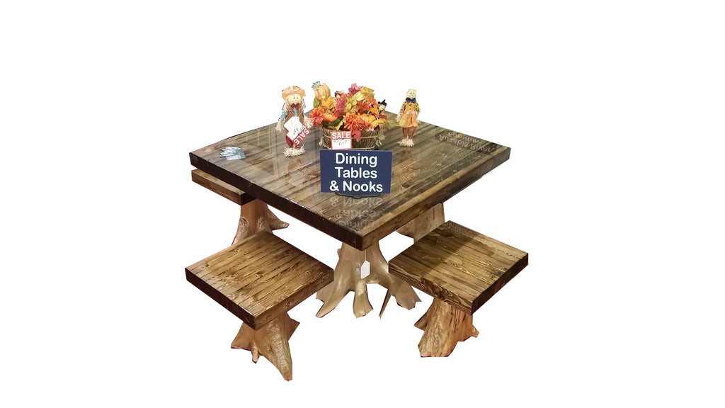 Live Edge Hobbit Dining Room Table W/ 4 Chairs-AuSable River MFG