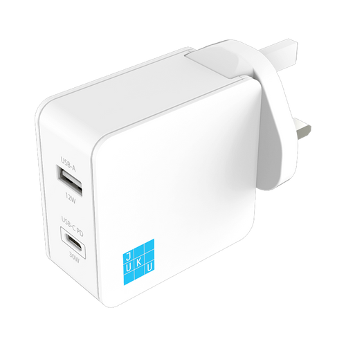 Juku USB-C PD and USB Wall Charger (30W + 12W)