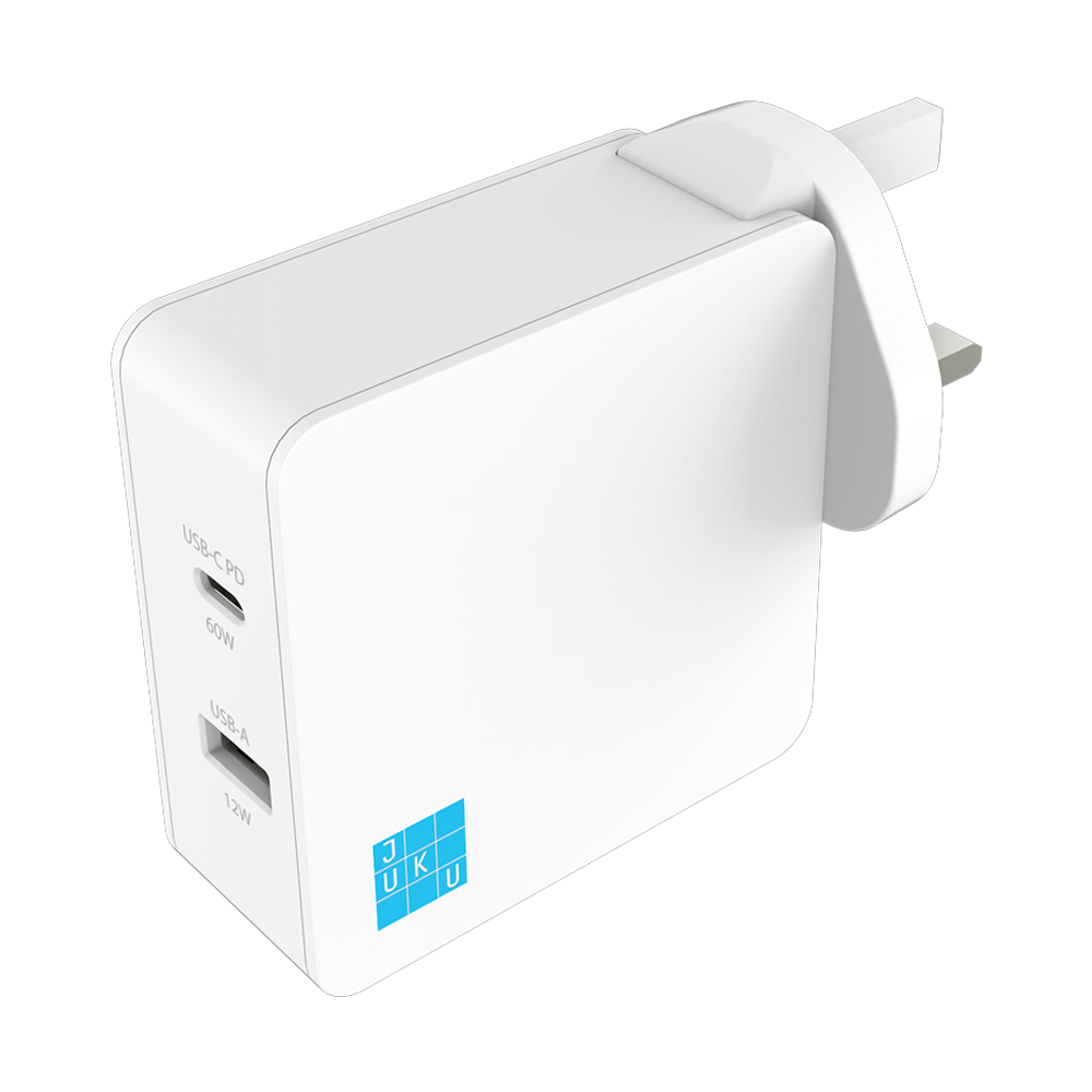 Juku USB-C PD and USB-A Wall Charger (60W + 12W)