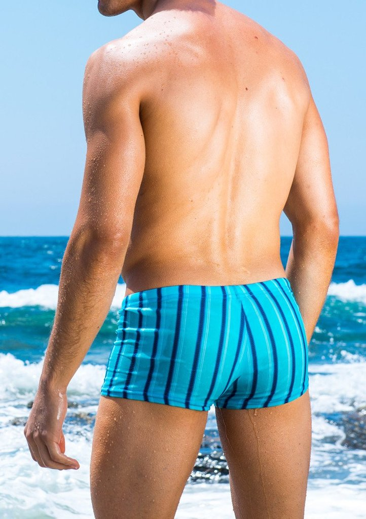 CAPRI STRIPE SQUARE CUT SWIM TRUNK
