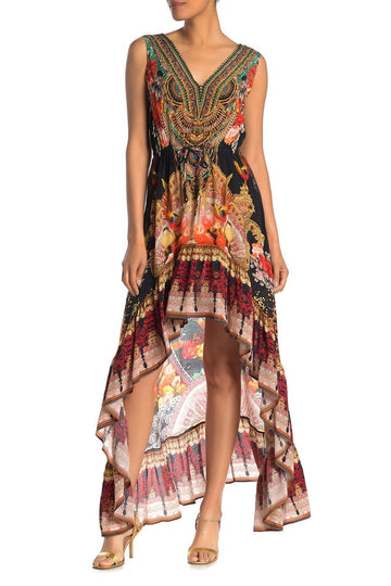 Printed High/Low Hem Embellished Dress