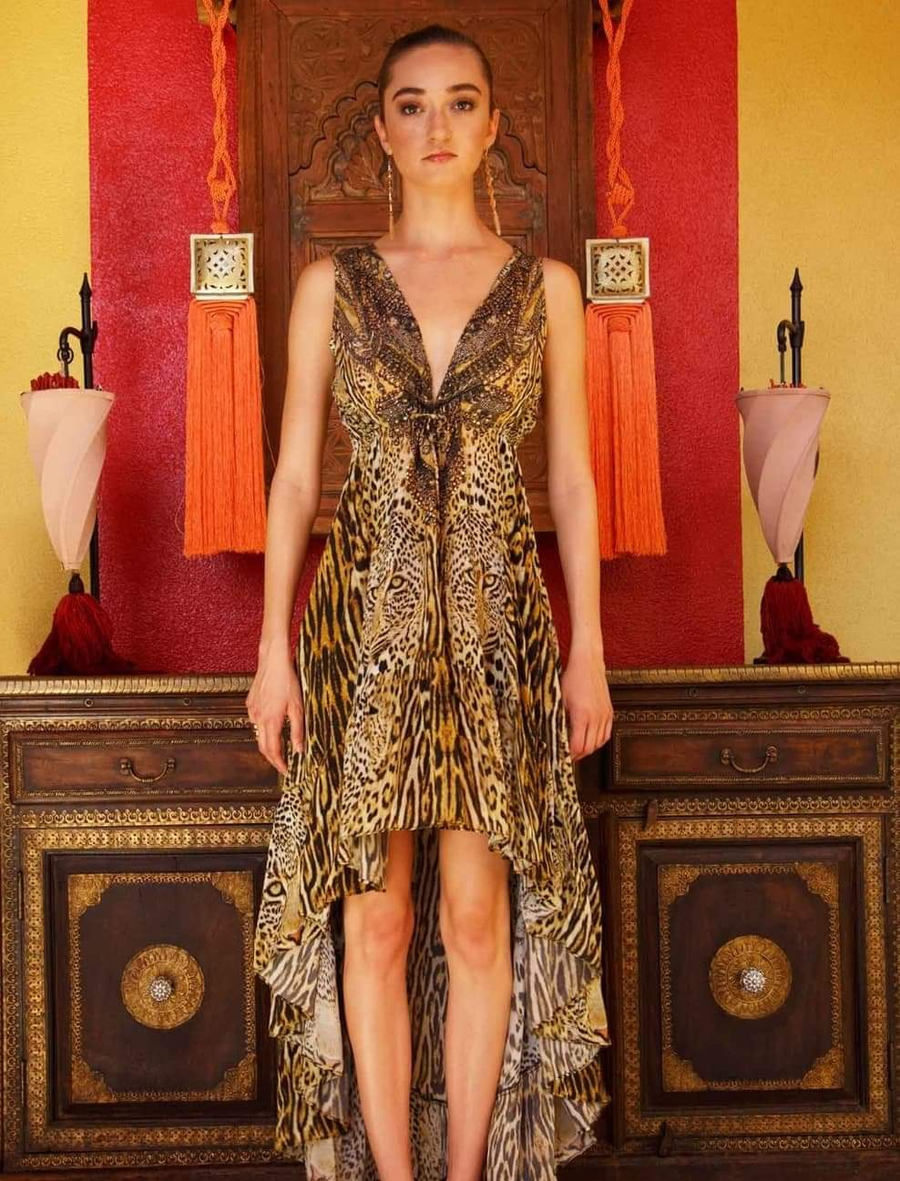 BLACK AND GOLD CHEETAH HIGH LOW DRESS