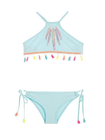 CABANA BLUE TASSEL HIGH NECK BIKINI