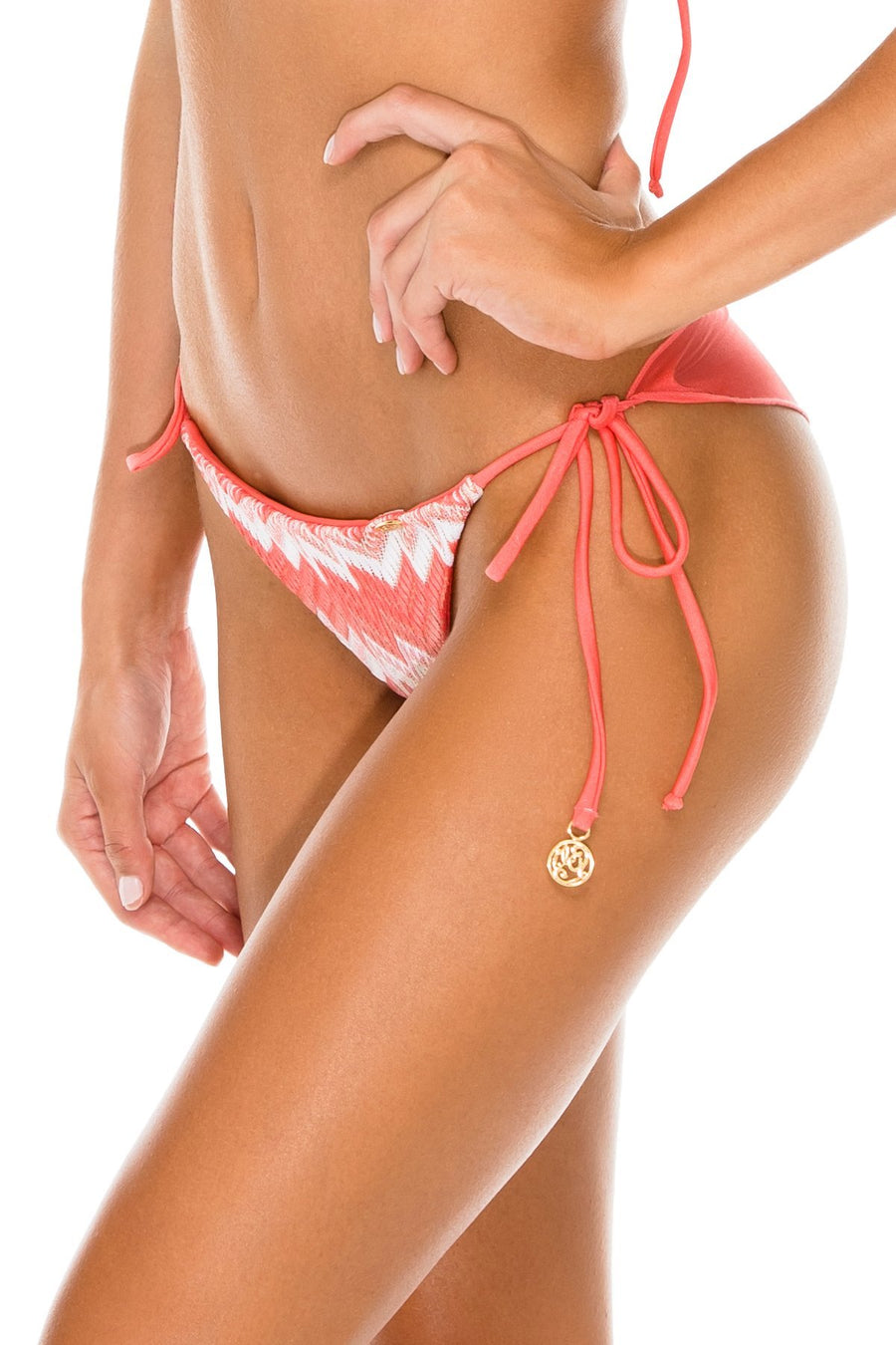 Amor Y Miel Wavey Ruched Back Brazilian Tie Side Bottom