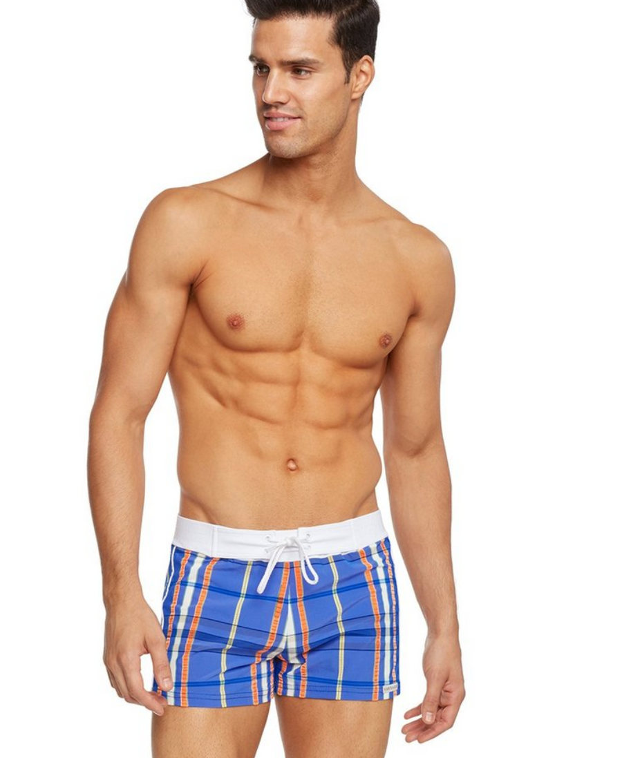 Azure Plaid Retro Lycra Swimmer