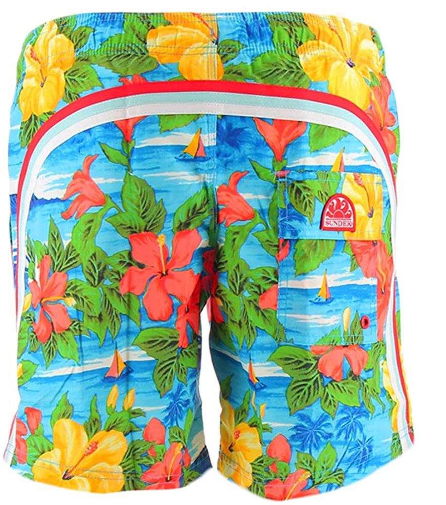 ELASTIC WAIST SWIM TRUNKS