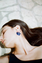 Load image into Gallery viewer, Slightly bigger Fleur earrings - Navy blue