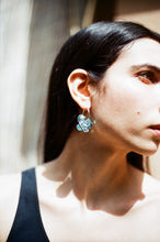 Load image into Gallery viewer, Slightly bigger Fleur earrings - Light blue on silver