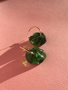 Slightly bigger Fleur earrings - Green