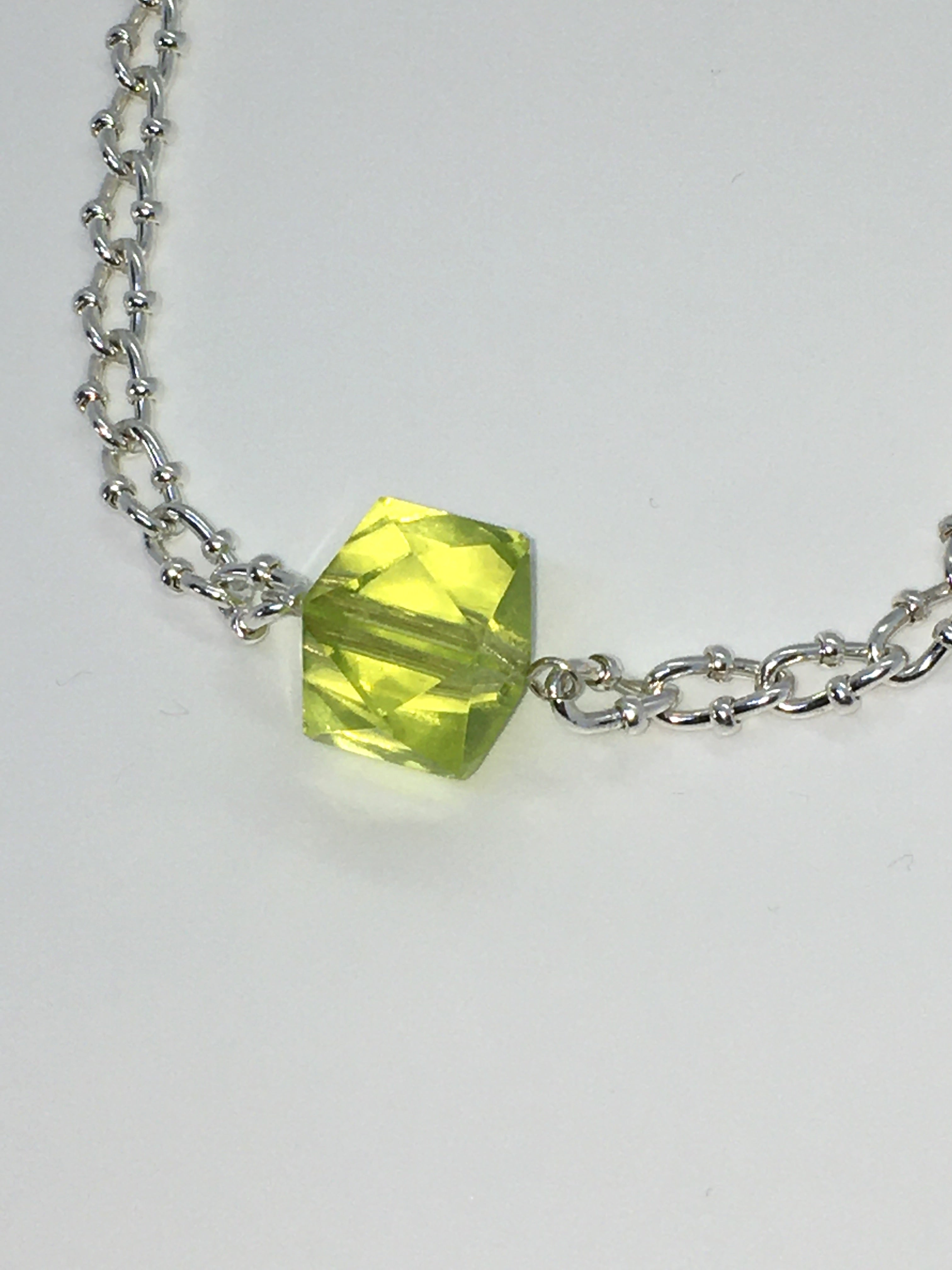Special Crystal necklace - Yellow Polyhedron - One of a kind