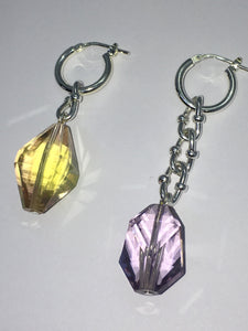Special Crystal earrings - Peach / Lilac - One of a kind