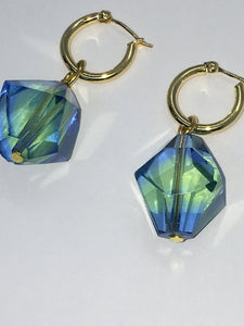 Special Crystal earrings - Green / Blue - One of a kind