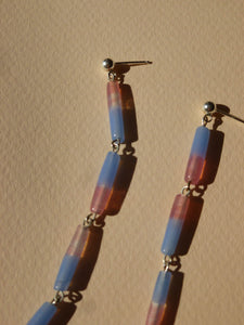 Pluie earrings - blue and pink - One of a kind