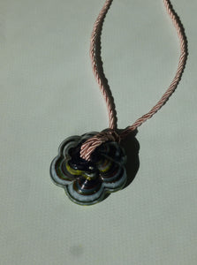Unique big Fleur necklace - Green / Pink