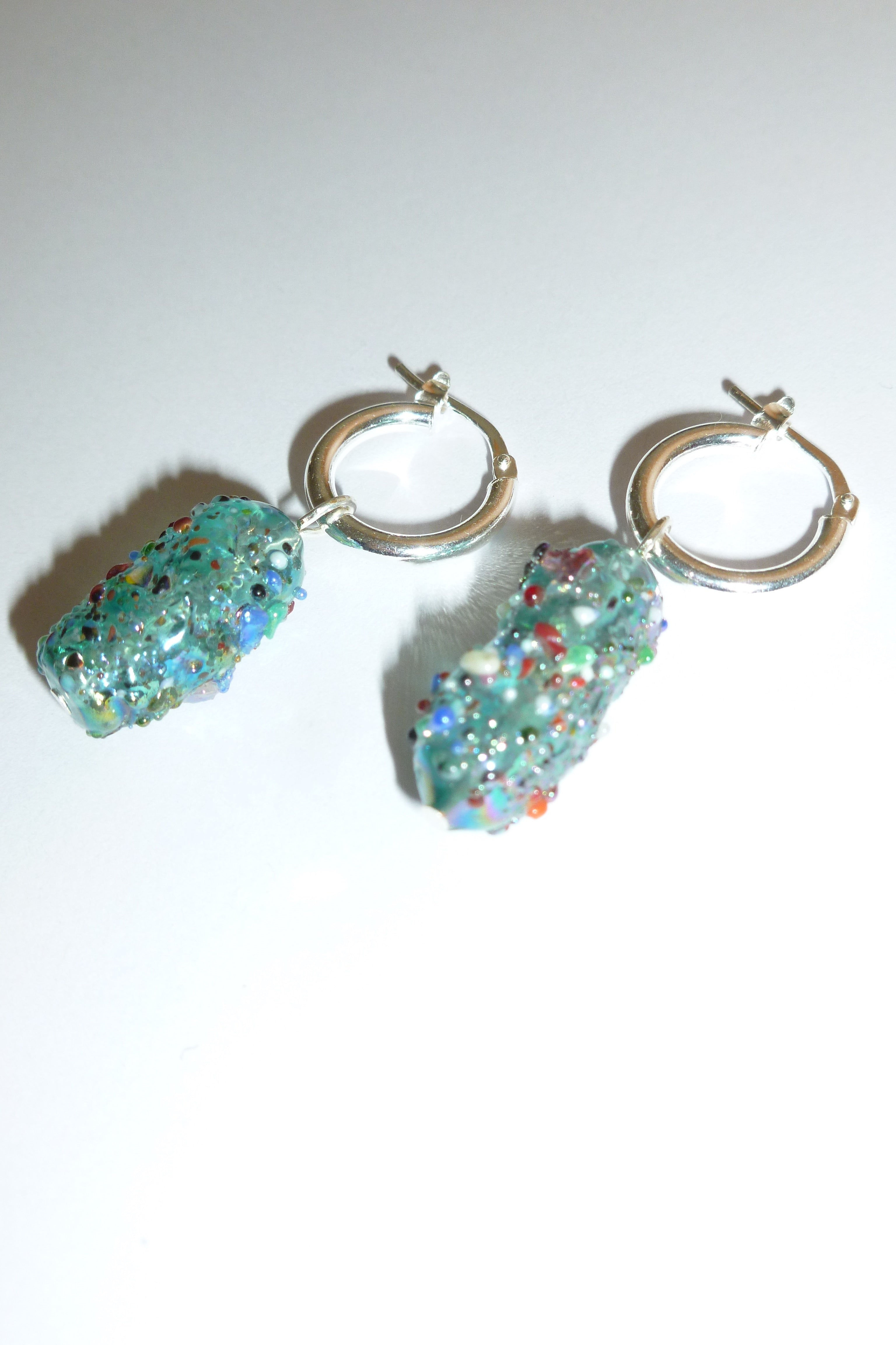 Special créoles earrings - Blue sprinkle - One of a kind