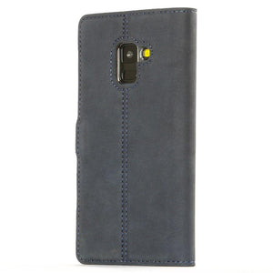 Vintage Navy Leather Wallet - Samsung Galaxy A8 (2018) - Snakehive