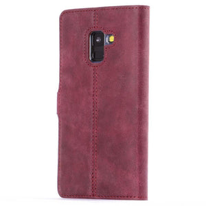 Vintage Plum Leather Wallet - Samsung Galaxy A8 (2018) - Snakehive