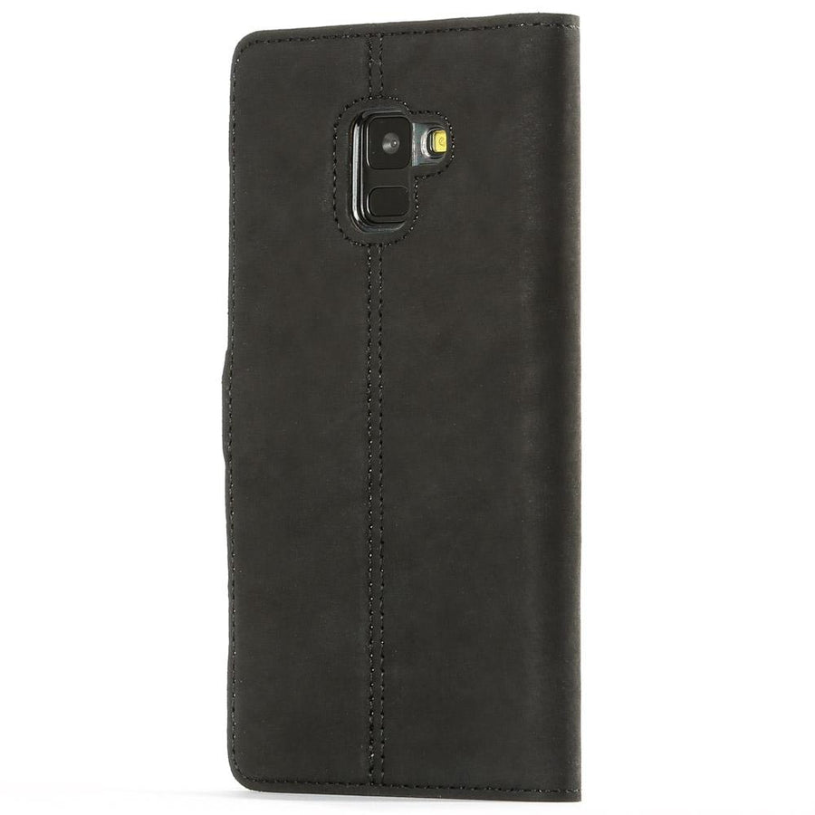 Vintage Black Leather Wallet - Samsung Galaxy A8 Plus (2018) - Snakehive