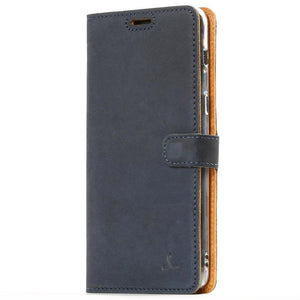 Vintage Navy Leather Wallet - Samsung Galaxy A8 Plus (2018) - Snakehive
