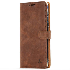 Vintage Chestnut Brown Leather Wallet - Samsung Galaxy A8 Plus (2018) - Snakehive