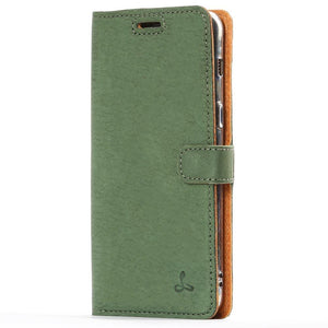 Vintage Bottle Green Leather Wallet - Samsung Galaxy A8 (2018) - Snakehive