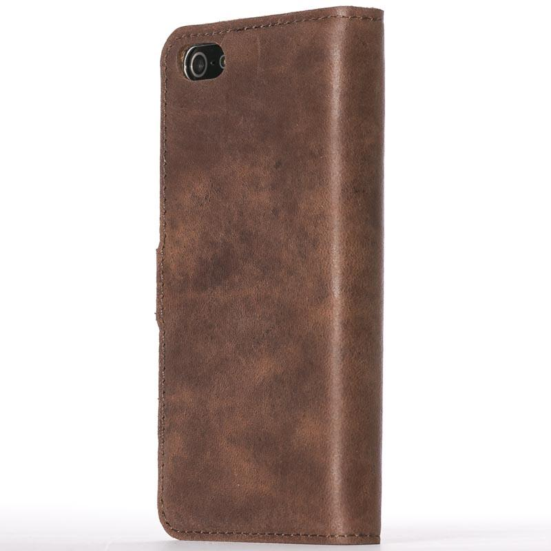 Vintage Chestnut Brown Leather  Wallet - Apple iPhone 5/5S/SE - Snakehive