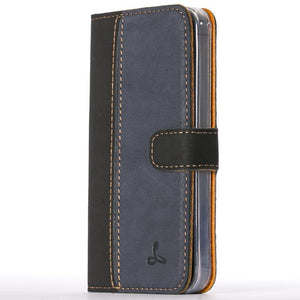 Vintage Two Tone Black/Navy Leather Wallet - Apple iPhone 5/5S - Snakehive