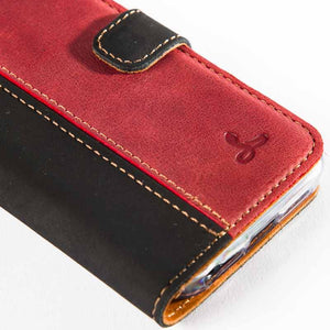 Vintage Two Tone Black/Burgundy Leather Wallet - Apple iPhone 5/5S - Snakehive