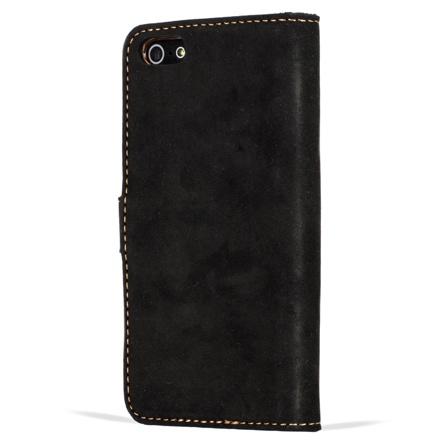 Vintage Two Tone Black/ Brown Leather Wallet - Apple iPhone 5/5S/SE - Snakehive
