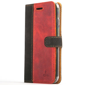 Vintage Two Tone Black/Burgundy Leather Wallet - Apple iPhone 7 - Snakehive