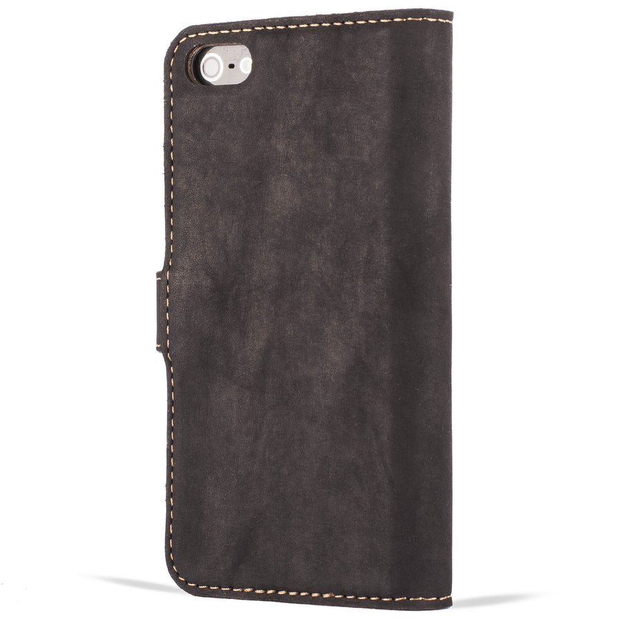 Vintage Two Tone Black/Plum Leather Wallet - Apple iPhone 5/5S - Snakehive