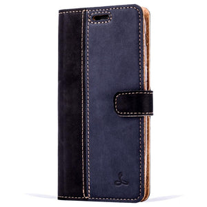 Vintage Two Tone Black/Navy Leather Wallet - Samsung Galaxy A5 (2017) - Snakehive