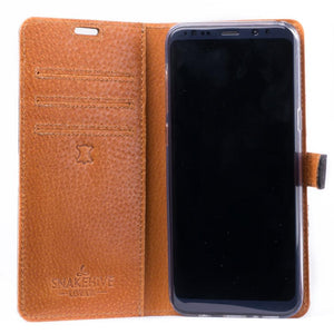 Vintage Black Leather Wallet - Samsung Galaxy S8+ (Plus) - Snakehive