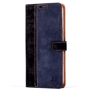 Vintage Two Tone Black/Navy Leather Wallet - Samsung Galaxy S8+ (Plus) - Snakehive