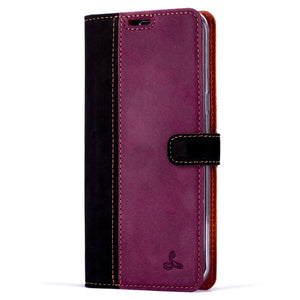 Vintage Two Tone Black/Plum Leather Wallet - Samsung Galaxy S8+ (Plus) - Snakehive