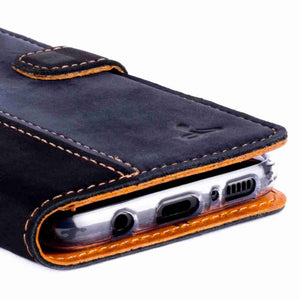 Vintage Two Tone Black/Navy Leather Wallet - Samsung Galaxy S8 - Snakehive